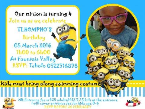 Tlhompho's birthday whatsApp invite