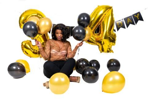 Beverly Tumi Moeng 34th birthday black and gold studio photoshoot